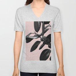 Ficus Elastica Blush Black & White Vibes #1 #foliage #decor #art #society6 Unisex V-Neck