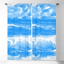 stormy sea waves reacwb Blackout Curtain