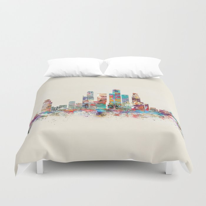 Singapore city skyline Duvet Cover