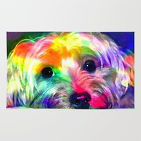 yorkie Area & Throw Rugs featuring Colorful Yorkie By Annie Zeno  by Annie Zeno