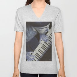 Piano blues man Unisex V-Neck