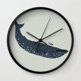 The whale and the diver Wall Clock