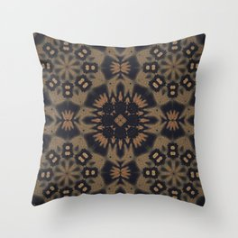 Wild Oats // Rustic Bohemian Gypsy Geometric Tribal Pattern Abstract Design Earthy Brown Black Throw Pillow