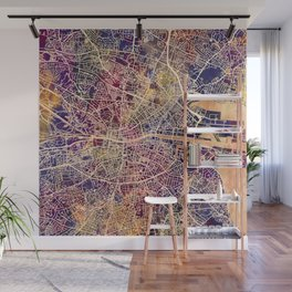 Dublin Ireland City Map Wall Mural