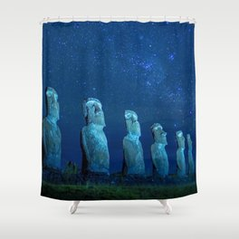 Easter Island by night Shower Curtain
