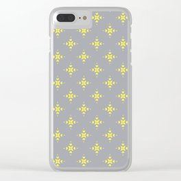 Ornamental Pattern with Grey and Lemon Yellow Colourway Clear iPhone Case