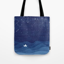 blue ocean waves, sailboat ocean stars Tote Bag