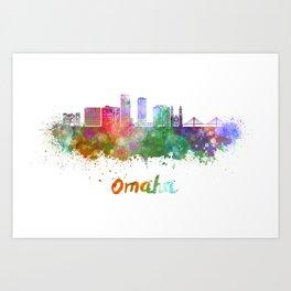 Omaha V2  skyline in watercolor  Art Print