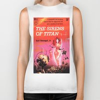 vonnegut Biker Tanks featuring Vonnegut -  The Sirens of Titan by Neon Wildlife