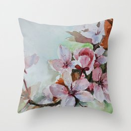 Watercolor hand painting Apple blossom Throw Pillow
