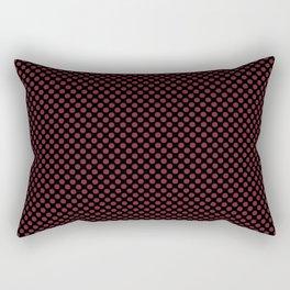 Black and Biking Red Polka Dots Rectangular Pillow