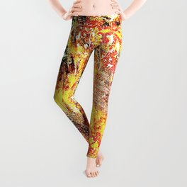 Golden Autumn Abstract Leggings
