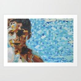Niño en alberca, Boy in pool Art Print