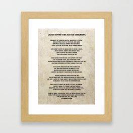 Jesus Loves The Little Children Poem Framed Art Print