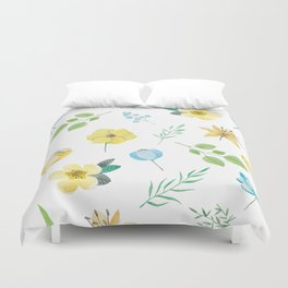 floral pattern with yellow flowers Duvet Cover