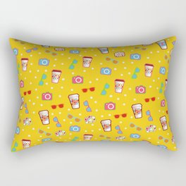 Coffee cup hipster pattern, yellow polka dot cool sunglasses pattern Rectangular Pillow