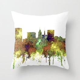 Baltimore, Maryland Skyline - SG - Safari Buff Throw Pillow