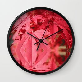Red Maple Leaves Reflections Wall Clock