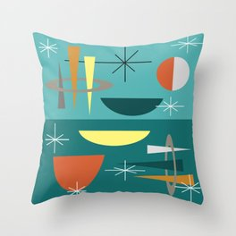 Turquoise Mid Century Modern Throw Pillow