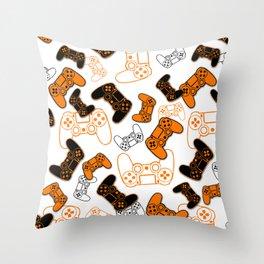 Video Games Orange on White Throw Pillow