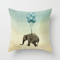 dumbo Throw Pillows featuring Dumbo by Vin Zzep