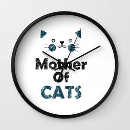 Mother Of Cats Distressed Wall Clock