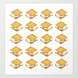 Delicious Watercolor Illustration S'more Pattern Art Print