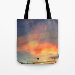 Love birds in the sunset Tote Bag
