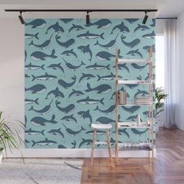 Cute Sea Creatures Pattern Wall Mural