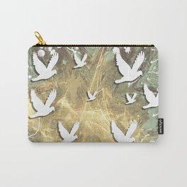 Birds on beige messy kaleidoscope Carry-All Pouch