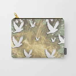Birds on beige messy kaleidoscope Carry-All Pouch
