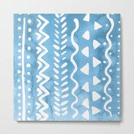 Loose boho chic pattern - blue Metal Print