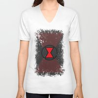 black widow V-neck T-shirts featuring Black Widow by Some_Designs