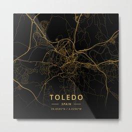 Toledo, Spain - Gold Metal Print