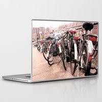 bikes Laptop & iPad Skins featuring Amsterdam Bikes by Ann Yoo