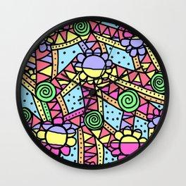 Doodle Art Flower - Pathways - Pink Blue Wall Clock