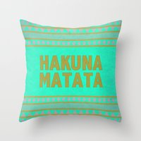 hakuna Throw Pillows featuring Hakuna Matata by M Studio