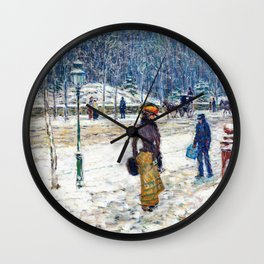 Frederick Childe Hassam - New York Street - Digital Remastered Edition Wall Clock