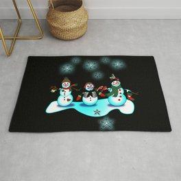 Snowman Trio Black Background Rug