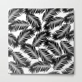 Palm Frond Tropical Décor Leaf Pattern Black on White Metal Print