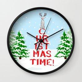 CHRISTMAS TIME WEIMARANER Wall Clock