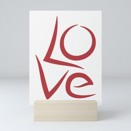 Love unique typography, word Hand lettering, Red letters, Mini Art Print