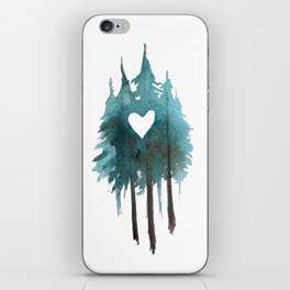 Forest Love - heart cutout watercolor artwork iPhone Skin