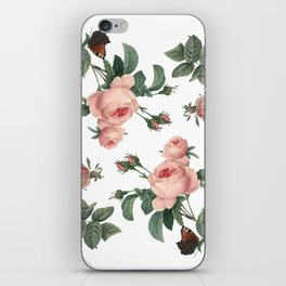 Rose Garden Butterfly Pink on White iPhone Skin