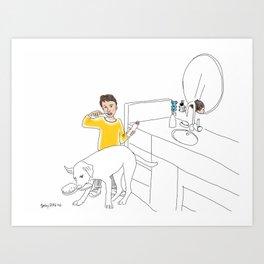 Morning Routine 4 - Brushing Teeth Art Print