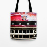 ford Tote Bags featuring Old Ford by Kim Ramage