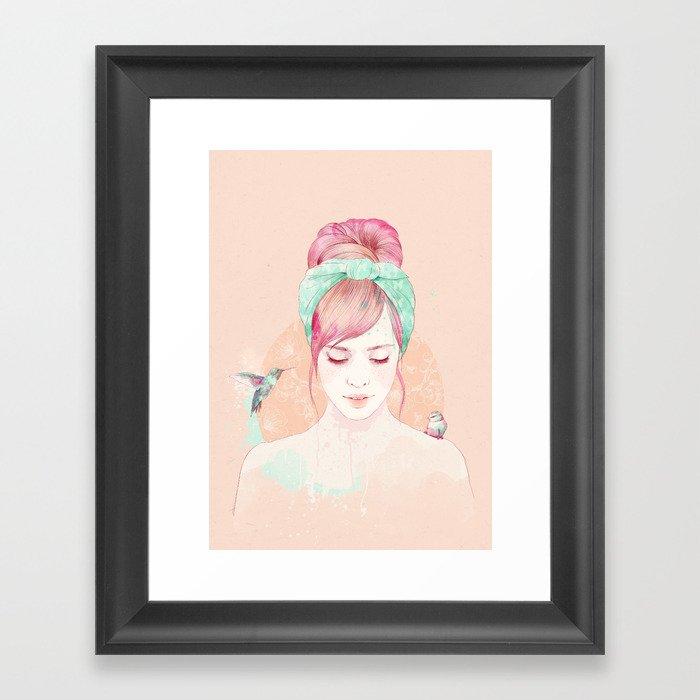 Pink hair lady Framed Art Print