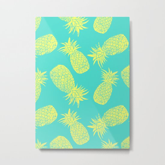 Pineapple Pattern - Turquoise & Lemon Metal Print