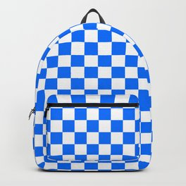 White and Brandeis Blue Checkerboard Backpack