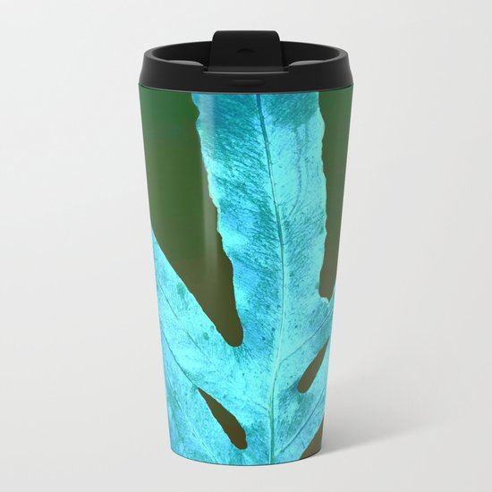 Autumn Leaves Blue and Cold Fall to the Ground Metal Travel Mug